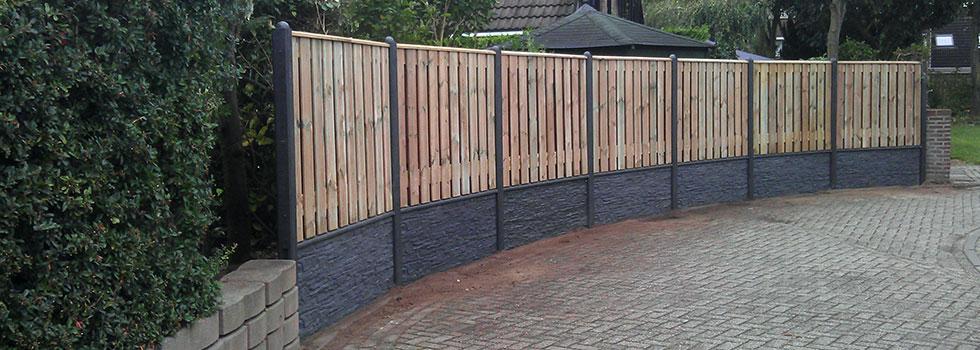 Schutting combinatie beton met hout
